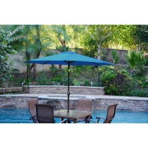 6.5' x 10' Aluminum Patio Market Umbrella Tilt w/ Crank - Turquoise Fabric/Black Pole