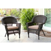 Espresso Wicker Chair With Brown Cushion - Set of 2