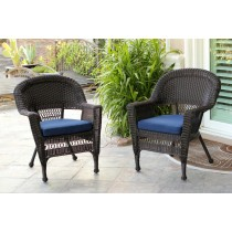 Espresso Wicker Chair With Midnight Blue Cushion - Set of 2