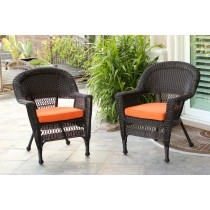 Espresso Wicker Chair With Orange Cushion - Set of 2