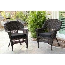 Espresso Wicker Chair With Black Cushion - Set of 2