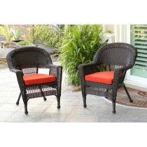 Espresso Wicker Chair With Brick Red Cushion - Set of 2