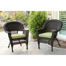 Espresso Wicker Chair With Sage Green Cushion - Set of 2