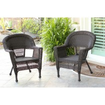 Espresso Wicker Chair Without Cushion - Set of 2