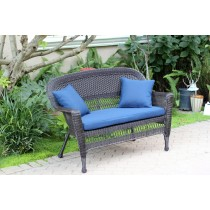 Espresso Wicker Patio Love Seat With Cushion and Pillows