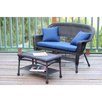 Espresso Wicker Patio Love Seat And Coffee Table Set With Cushion