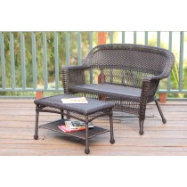 Wicker Patio Love Seat And Coffee Table Set Without Cushion