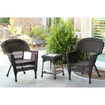 3pc Santa Maria Espresso Wicker Chair Set - Midnight Blue Cushions