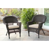 Espresso Wicker Chair With Tan Cushion - Set of 4