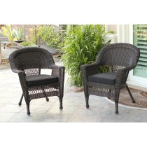 Espresso Wicker Chair With Black Cushion - Set of 4