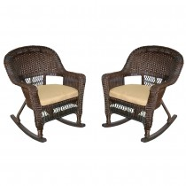 Espresso Rocker Wicker Chair with Tan Cushion -  Set of 2