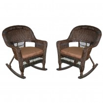 Espresso Rocker Wicker Chair with Brown Cushion -  Set of 2