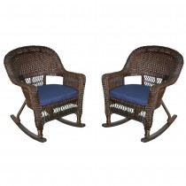 Espresso Rocker Wicker Chair with Midnight Blue Cushion -  Set of 2
