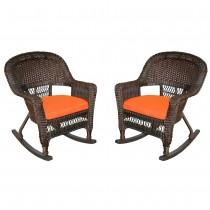 Espresso Rocker Wicker Chair with Orange Cushion -  Set of 2