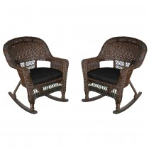 Espresso Rocker Wicker Chair with Black Cushion -  Set of 2
