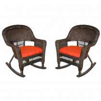 Espresso Rocker Wicker Chair with Brick Red Cushion -  Set of 2