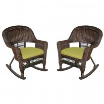 Espresso Rocker Wicker Chair with Sage Green Cushion -  Set of 2