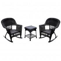 3pc Espresso Rocker Wicker Chair Set Without Cushion