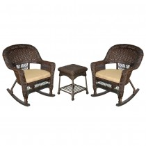 3pc Espresso Rocker Wicker Chair Set With Tan Cushion