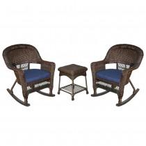 3pc Espresso Rocker Wicker Chair Set With Midnight Blue Cushion