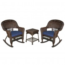 3pc Espresso Rocker Wicker Chair Set With Cushion