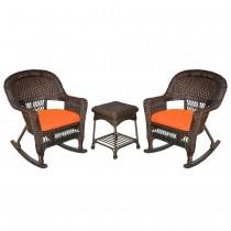 3pc Espresso Rocker Wicker Chair Set With Orange Cushion