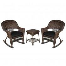 3pc Espresso Rocker Wicker Chair Set With Black Cushion