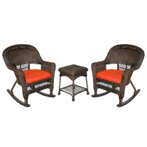 3pc Espresso Rocker Wicker Chair Set With Brick Red Cushion