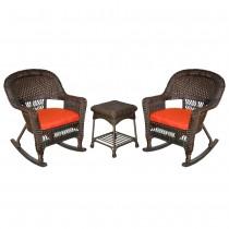 3pc Espresso Rocker Wicker Chair Set With Brick Red Cushion