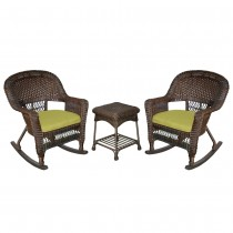 3pc Espresso Rocker Wicker Chair Set With Sage Green Cushion