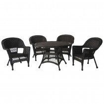 5pc Espresso Wicker Dining Set Without Cushion
