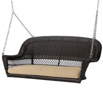 Espresso Resin Wicker Porch Swing with Tan Cushion