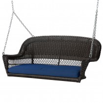 Espresso Resin Wicker Porch Swing with Midnight Blue Cushion