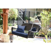 Espresso Resin Wicker Porch Swing with Cushion
