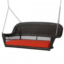 Espresso Resin Wicker Porch Swing with Brick Red Cushion
