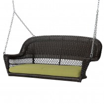 Espresso Resin Wicker Porch Swing with Sage Green Cushion