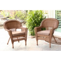 Honey Wicker Chair With Brown Cushion - Set of 2