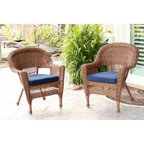 Honey Wicker Chair With Midnight Blue Cushion - Set of 2