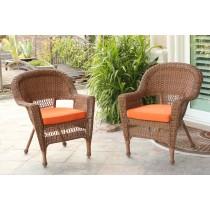 Honey Wicker Chair With Orange Cushion - Set of 2