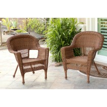 Honey Wicker Chair Without Cushion - Set of 2