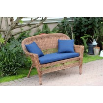 Honey Wicker Patio Love Seat With Cushion and Pillows