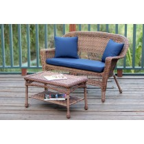 Honey Wicker Patio Love Seat And Coffee Table Set With Cushion