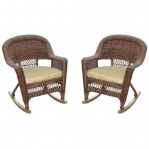Honey Rocker Wicker Chair with Tan Cushion -  Set of 2