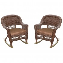 Honey Rocker Wicker Chair with Brown Cushion -  Set of 2