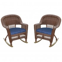 Honey Rocker Wicker Chair with Midnight Blue Cushion -  Set of 2