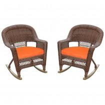 Honey Rocker Wicker Chair with Orange Cushion -  Set of 2