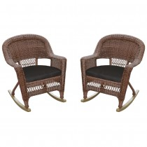 Honey Rocker Wicker Chair with Black Cushion -  Set of 2