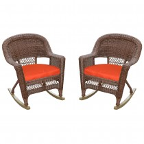 Rocker Wicker Chair With Cushions -  Set of 2