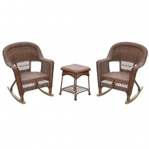 3pc Honey Rocker Wicker Chair Set Without Cushion