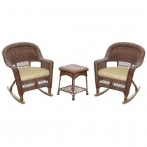3pc Honey Rocker Wicker Chair Set With Tan Cushion